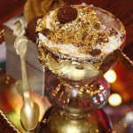 Dessert with gold shavings