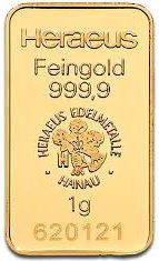 Gold in small denominations - Heraeus bar