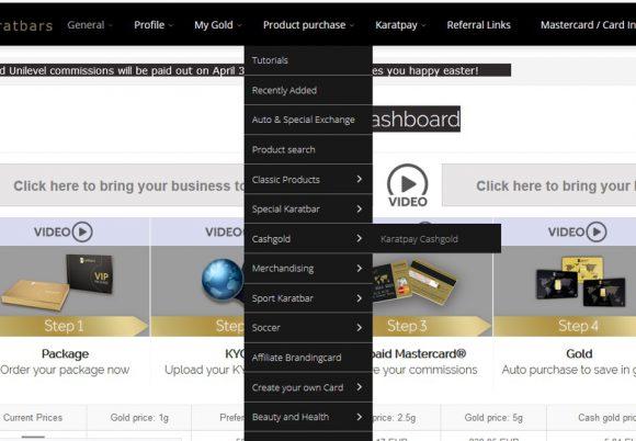 More stuff on KaratBank coin & KaratBank ICO - getting cashgold from backoffice