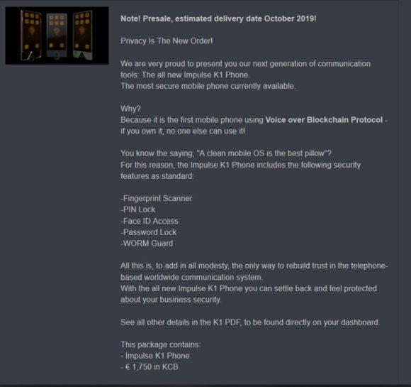 About KaratCoin Bank coin (KCB). Gold-backed. Blockchain-based. Impulse K1 Phone