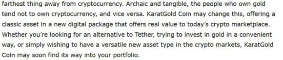 About KaratGold Coin. According to the Bitcoin News - Allows to trade their digital coins for real gold