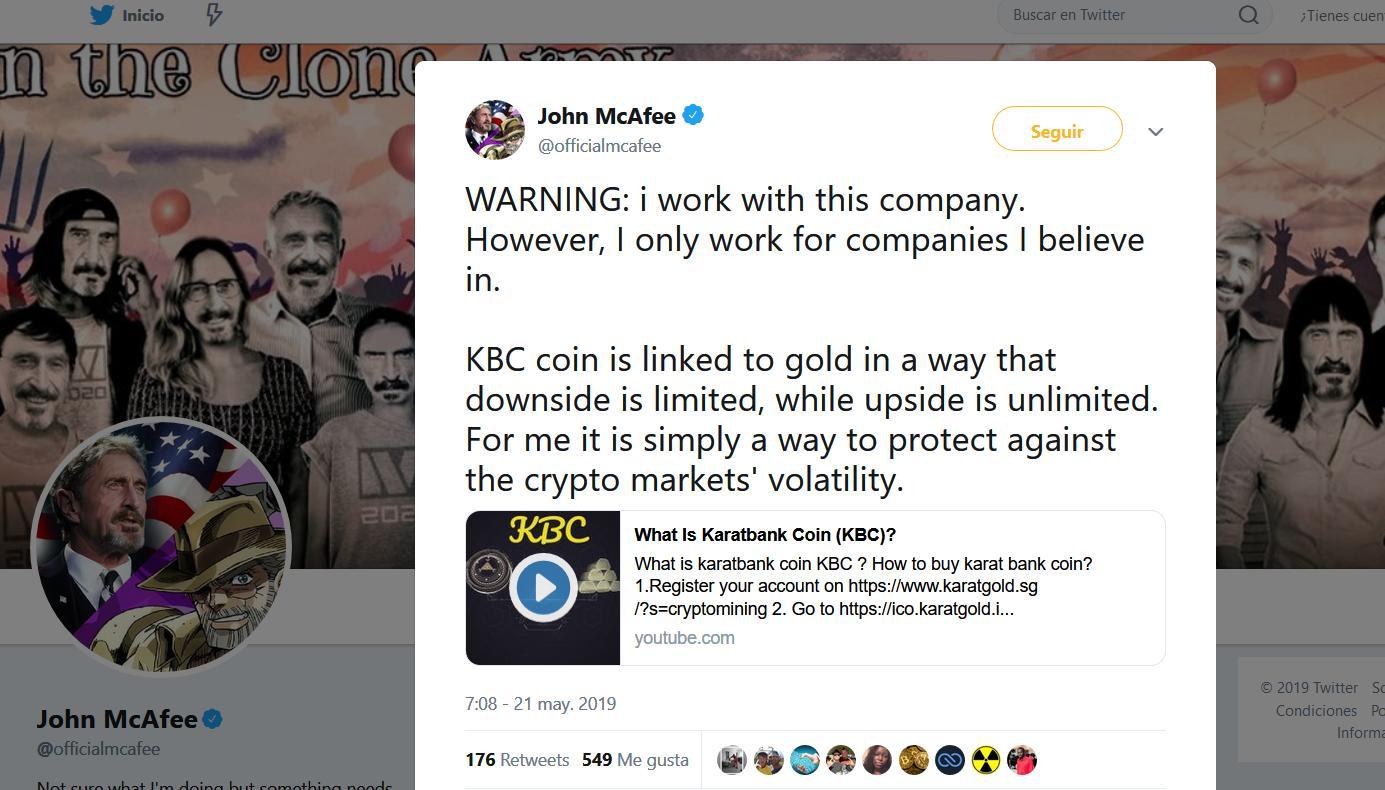 KaratGold coin (KBC) review - John McAfee, founder of McAfee antivirus, invests in KBC