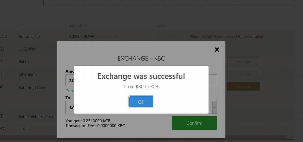 How to exchange KCB for KCB. What is exchange rate of 1 KBC in KCB coins_exchange success