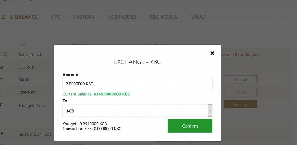 How to exchange KCB for KCB. What is exchange rate of 1 KBC in KCB coins_exchange