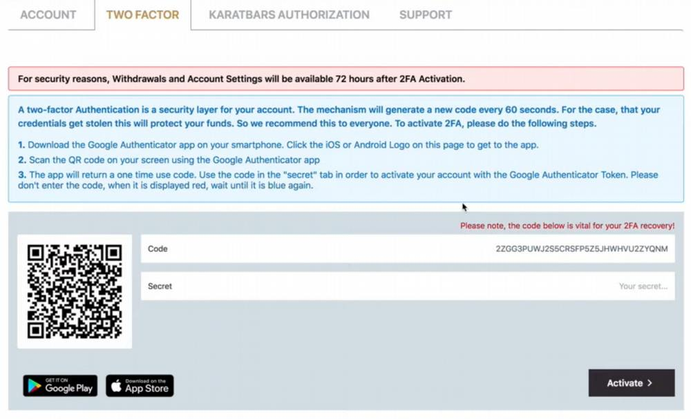 How to use KaratBit: How to activate 2-Factor Authentication after registering