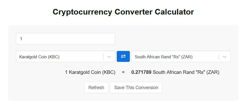 KBC coin exchange rate (to ZAR, USD, CAD, GBP) -- converter and manual