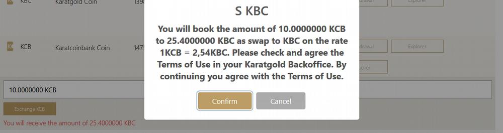 How to exchange KCB for KBC on Karatbit (hard fork option 1)_terms