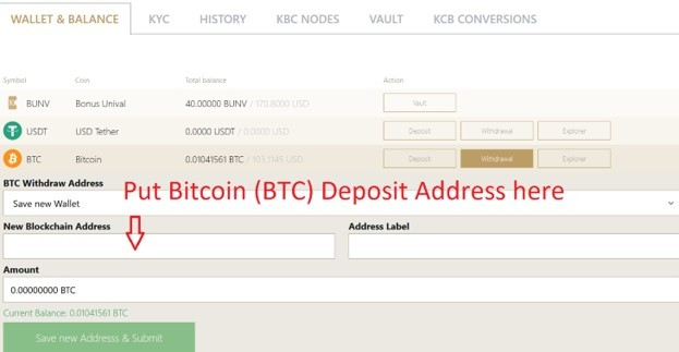 How to withdraw KBC coins from Karatbit and convert to cash_BTC deposit address input into Karatbi