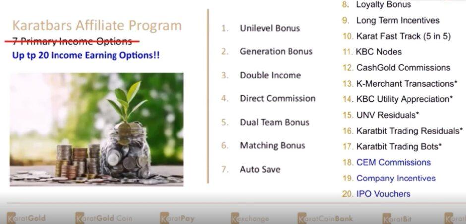 Karatbars International affiliate compensation plan (20 ways to get paid)